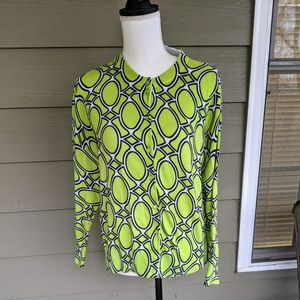 Crown & Ivy cardigan lime geometric print